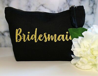 Bridesmaid Gold Glitter Make Up Cosmetic Bag Sister Wedding Gift Bride Groom