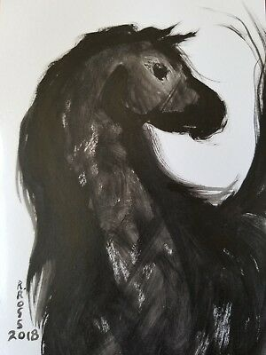"""Original Signed Painting by R. ROSS ,not a copy """"Wild Horse"""" Worldwide shipping"""