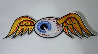 Von Dutch Flying Eyeball Iron-On Embr. Patch Drag Race Hot Rod Motorcycle