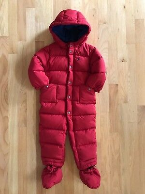 $165 Polo Ralph Lauren Baby Boys Girls Quilted Down Bunting Snowsuit Red 24M