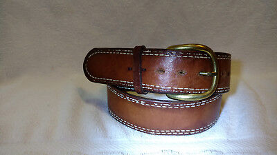 "Vintage Brown Heavy Leather Belt Solid Brass Buckle White Trim Size 34"" 1 3/4 WD"