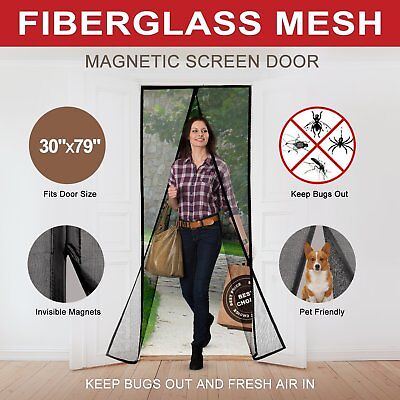 Magnetic Screen Door Curtains Durable Fiberglass Mesh Full Frame Screens with