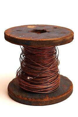 Large Primitive Wooden Spool with Thick Copper Wire