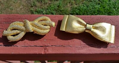 Vtg Mimi di N Gold-Tone Ropey French Knot Bow Rope Belt Buckle & 1 Dotty Smith