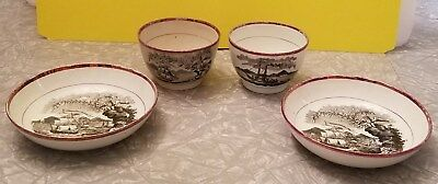 Antique 1800s Staffordshire Lustre Maritime Naval Anchor Teabowl Bowl Saucer Lot