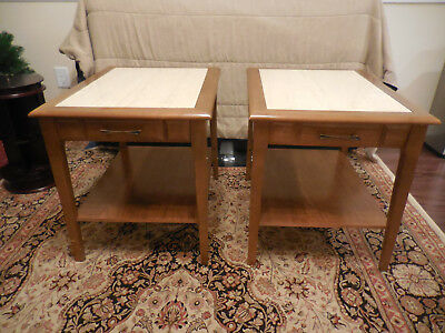 Vintage Mid Century End Tables 2 And Coffee Table Marble