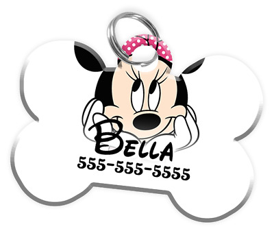 Disney Minnie Mouse Dog ID Tag with personalized pets Name & Number