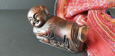 Old Chinese Carved Wooden Child's Pillow …beautiful detail / patina / collection