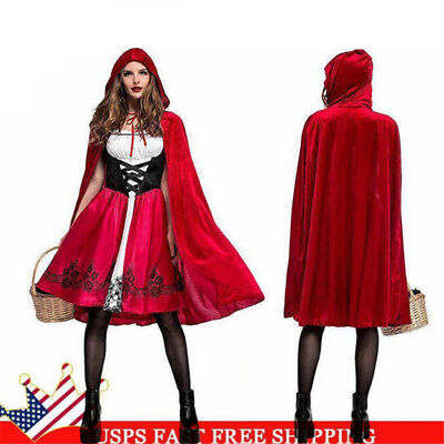 Christmas Womens Little Red Riding Hood Party Costume Cosplay Fancy Dress Adult