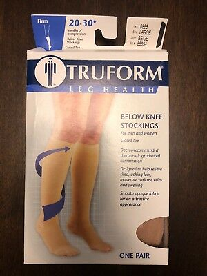 New Truform Medical Stocking 20-30 Mmhg Below Knee Closed Toe Multiple Sizes