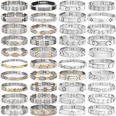 Fashion Women Men Gold/Silver Plated Stainless Steel Cuff Bangle Bracelet Party