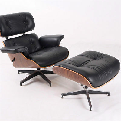 Black Eames Lounge Chair and Ottoman Top Real Leather Walunt Wood Leisure Chair