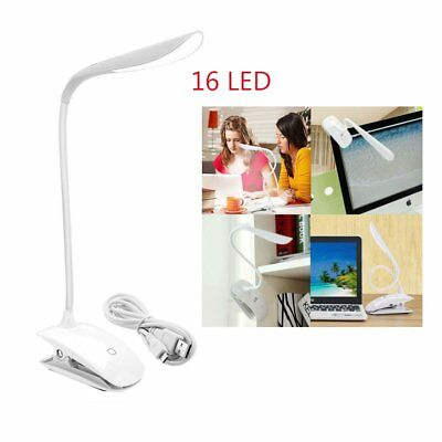 USB Rechargeable LED Light Dimmable Clip-On Desk Table Reading Book Lamp White@