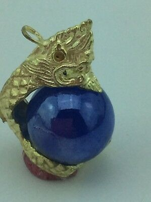 Amulet THAI Blue Naga Glass Eye Pendant Hunting Money Rich Lucky Talisman Wealth