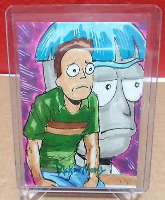 2018 Cryptozoic Rick and Morty Jerry and Doofus  Rick  SKETCH CARD SIGNED 1 OF 1