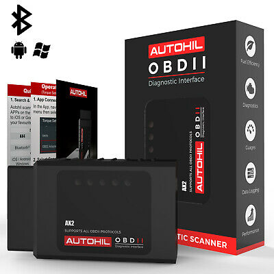 Autohil ELM Bluetooth OBD2 Scanner Tool For Android Car OBD Torque Code Reader