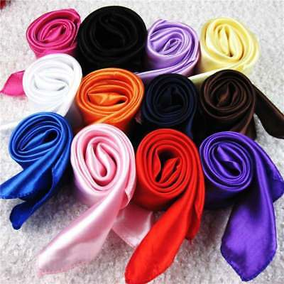 Fashion Women Simple Soft Solid Elegant Neck Hair Tie Square Silk Scarf Kerchief