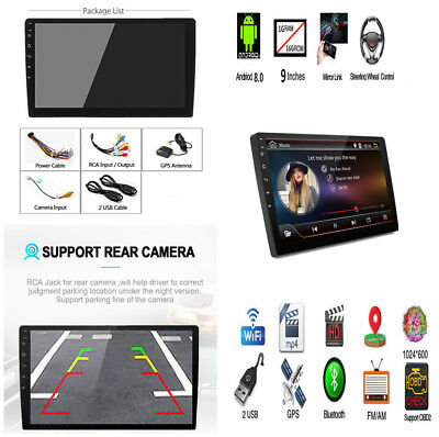 9'' Android 8.0 2Din HD Touch Car Stereo Radio GPS DVR MP5 Wifi Mirror Link OBD