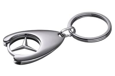 Genuine Mercedes-Benz Collection 'Chip' Keyring with Trolley Coin Insert.
