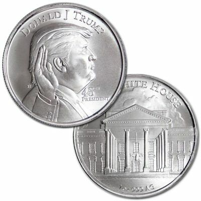 Donald J Trump the 45th President of USA / 1 oz Pure/Solid Silver Round Bullion!