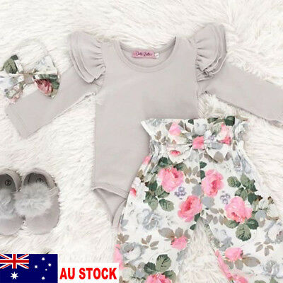 AU Stock Newborn Infant Baby Girl Floral Clothes Rompers Outfit Sets Playsuit