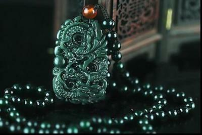 New Chinese Natural  Hand-carved Hetian Jade  Dragon Pendant + Necklace