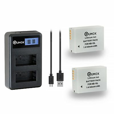 2x QUMOX NB-10L 920mAh Battery + LCD charger for Canon PowerShot