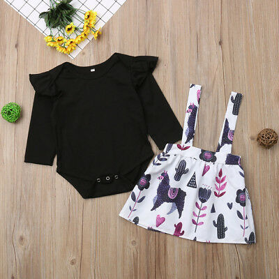 2PCS Newborn Baby Girls Outfit Clothes Set Romper Bodysuit+Strap Dress Skirt AU