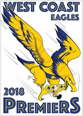 West Coast Eagles 2018 Premiership A4 Posters With Free Postage