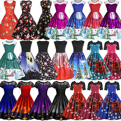 Retro Women Vintage 50s Rockabilly Christmas Xmas Party Swing Dress Plus Size AU