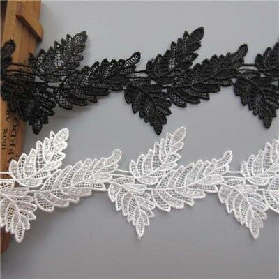 1 Yard Leaves Embroidered Lace Trim Ribbon For Dress Costume Hat DIY Craft