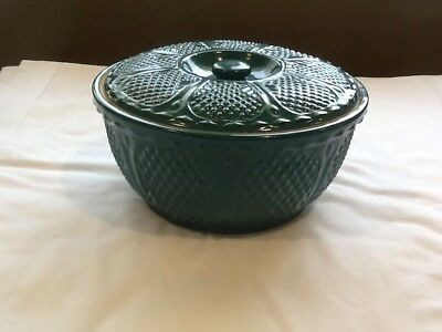 Roseville Rrp Co Diamond Pattern 8 Inch Covered Bowl In Dark Teal Green