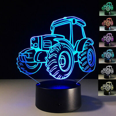 3D Tractor Table Lamp Bedroom Touch Night Light 7 Colors Led Home Decor Nice