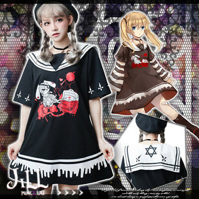 lolita harajuku anime lunatic rabbit nurse sleevelet sailor collar dress【JJ2217】