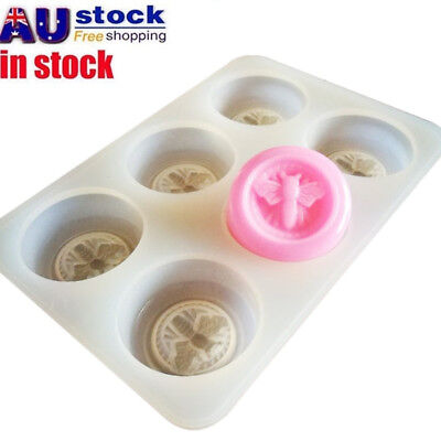 AU 6 Grids Bees Shaped Silicone Ice Cube Candy Chocolate Soap Molds Mould DIY