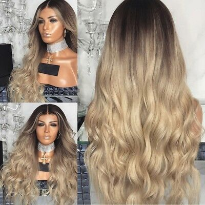 Perruques toupets Curly Hair Full Wig Heat Resistant Synthetic Blonde Wigs Ombre