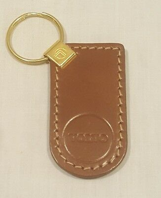 Vintage Brown Genuine Leather VOLVO Keychain Key Chain - New/Old Stock