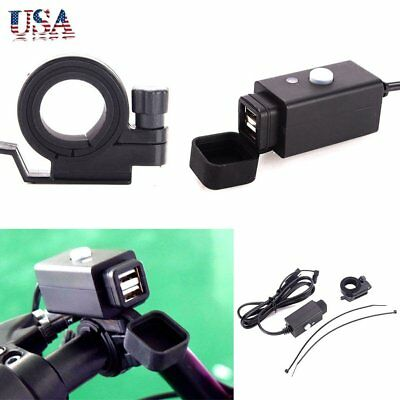 Waterproof Motorcycle Dual USB Port Car Charger With Power Switch  Adapter US MY