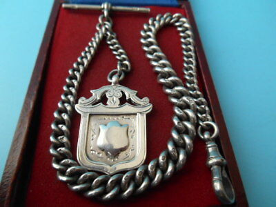 ANTIQUE SOLID SILVER POCKET WATCH ALBERT CHAIN & FOB NOT SCRAP 49.6gm