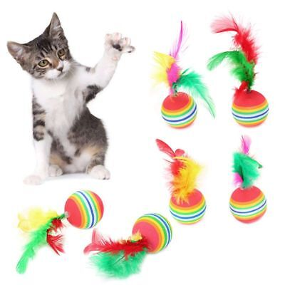 5pcs Cat Ball Toys With Feather Pets Kitten Teaser Interactive Funny Supply