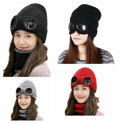 Women Winter Hat With Glasses Warm Beanies Skull Ski Knitted Cap Pilot New