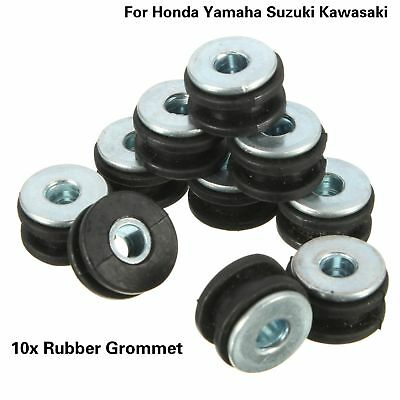 10pcs Motorcycle Rubber Grommets Bolt For Honda Yamaha Suzuki Kawasaki MY