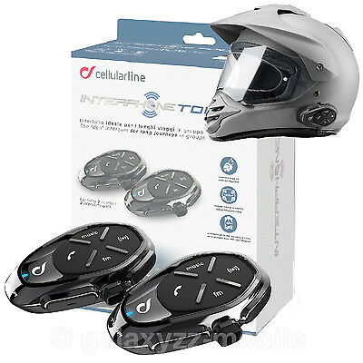 Interphone TOUR TwinPack Bluetooth Motorrad Gegensprechanlage Helm Intercom