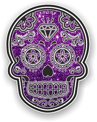 2 pcs 70x55mm Mexican Day Of The Dead Sugar Skull Black Floral Roses Car Sticker
