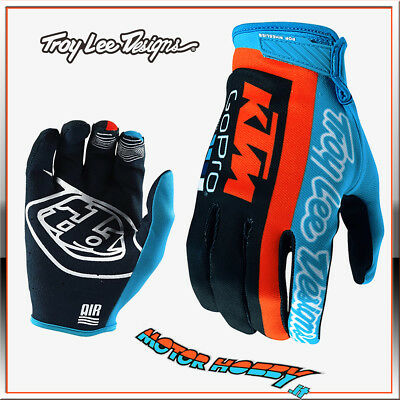 Guanto Cross Enduro Troy Lee Designs Air Glove Tld Ktm Team Navy Cyan Taglia Xxl