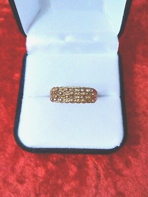 Vintage 9 Ct Gold Gents Keeper  Ring Size W