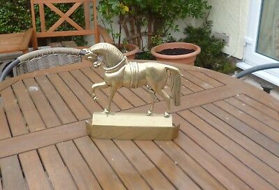 Mid to Late Victorian Antique Horse Form Door Stop/Porter-Solid Brass and Large