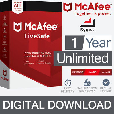 McAfee LiveSafe 2019 (Unlimited Devices/1Year) Internet Antivirus PC/Mac Licence