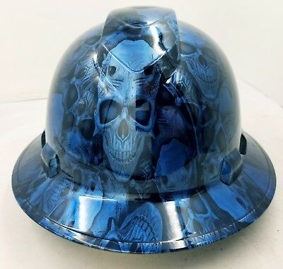 FULL BRIM Hard Hat custom hydro dipped , CANDY BLUE DEMON SKULL NEW VERY LIMITED