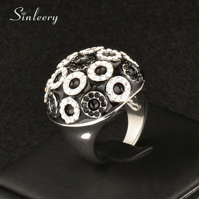 Big Black Enamel Half Ball Round Ring Cubic Zirconia White Gold Plated Jewelry